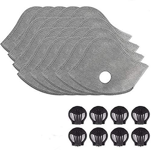 Keydi Lot de 30 filtres de protection au charbon actif avec 5 couches de filtration anti-poussière pour la course, le cyclisme, les activités de plein air avec 8 valves d'échappement