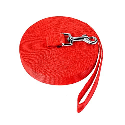 Laisse pour Chien 15m, Longe de Dressage pour Chien, Longue Laisse Chien de Petites ¨¤ Grandes Taille en Nylon pour Amima/Rouge