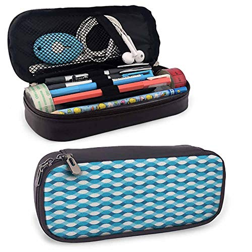 Blue and White Travel Pencil Pen Case Horizontal Waves Overlapping Borders Abstract Sea Inspired Flow for Student Office College Middle School High School 8'x3.5'x1.5' Blue Pale Blue White