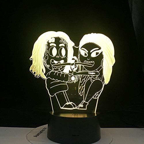 OUUED 3D LED Lámpara de noche Rapero Singer 6ix9ine Personaje Fans famosos Regalos populares Decoraciones para fiestas familiares 7 colores Decoración para el hogar Lámpara de noche D