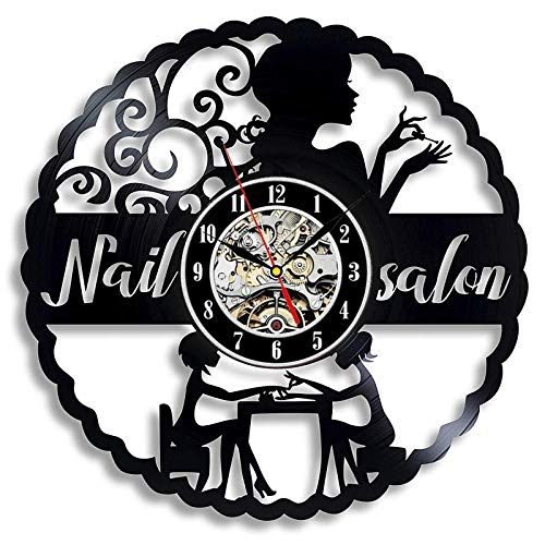Nagel Salon Vinyl Schallplatte Wanduhr Modernes Design Nail Art Maniküre Studio Vinyl Uhren Wanduhr Beauty Salon Wandschild Dekor-Stil 2