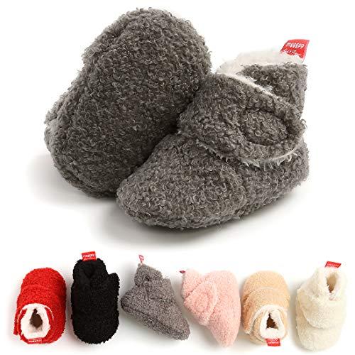 KIDSUN Newborn Infant Baby Boys Girls Fleece Booties Stay On Socks Soft Shoes Non Skid Winter Warm Christmas Slippers