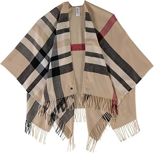 FRAAS Poncho Damen Kariert - Ruana mit Karo-Muster - Made in Germany - 130 x 150 cm Größe - Kariertes Cape für Frauen - Stilvolle Web-Jacke Beige