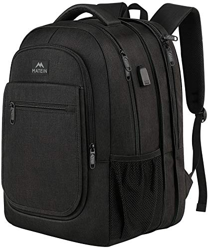 Travel Backpack for Men, Expandable Laptop Backpack with USB Charging Port, Large Anti Theft Business Computer Bag Water Resistant College School Bookbag Gifts for Men Women Fits 15.6 Inch laptop, Black