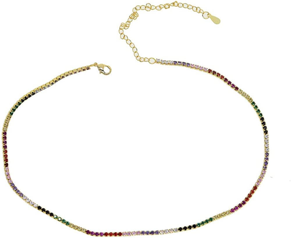 Personality 2mm Choker Necklace Rainbow Tennis Chain Colorful Women Collar Link Chain Necklace Jewelry 35+10cm