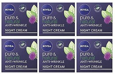 NIVEA Pure & Natural Anti-Wrinkle Night Face Cream, Bio Argan Oil & Bio Burdock Fruit Extract 6x 50ml Creams, Bulk Buy by Nivea