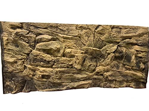 Aqua Maniac - Arrière-plan d'aquarium 3D - Roche beige, polyrésine (pas en mousse) - 4 à 6cm d'épaisseur - Décor unique