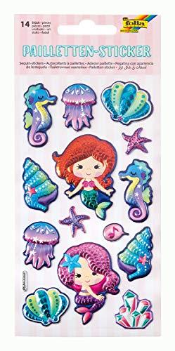 folia 19701 - Pailletten Sticker I mit Meerjungfrau Motiven, metallisch schimmernde Kunststoffsticker, 14 Stück, ideal geeignet zum Verzieren von Grußkarten, Bastelarbeiten und Scrapbooking