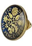 新宿銀の蔵 6ペンスコイン タックピン (ゴールドカラー) タイピン ラペルピン スーツ ネクタイ Tie Tack Pin メンズ 男性用 シンプル
