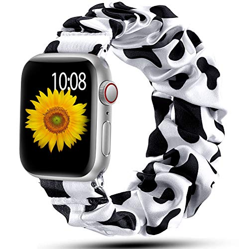 Muranne Scrunchie Band Compatible with Apple Watch 38mm 40mm for Women Girls Fancy Elastic Scrunchy Replacement Wristbands Stretchy Bands for iWatch SE & Series 6 5 4 3 2 1 Cows 38mm/40mm Small