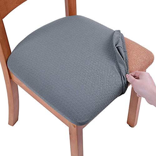 Homaxy Stretch Spandex Jacquard Esszimmerstuhl Sitzbezüge, herausnehmbarer waschbarer Anti-Staub Esszimmerstuhl Sitzkissen Hussen - 4er Set, Grau