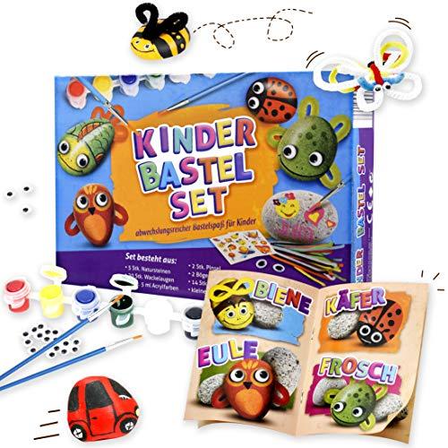 Kinder Bastelset - Steine Bemalen mit hochwertigen Farben und Stickern, perfekt für Kindergeburtstage, kreativ werden und Spaß haben, für Mädchen und Jungen und Erwachsene