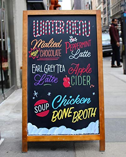 A Frame Sidewalk Chalkboard Sign with Rustic Wood Frame and Non Porous Magnetic Blackboard Surface Compatible with Liquid Chalk Markers for Large Outdoor Sandwich Board - 24 x 42 Inches