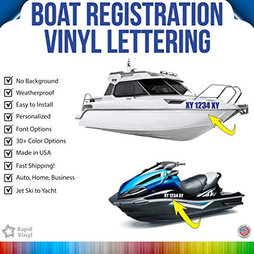 Rapid Vinyl Boat Registration Numbers Vinyl Lettering & Numbers - Custom Made Any Text, Font, Color - Design Your Own Vinyl Decal Stickers – for use on Boat, Yacht, Canoe, Paddle Board & More