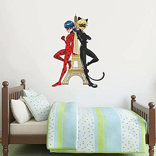 Adhesivo de pared 60 × 90cm Mural de pared milagroso - Mariquita Cat Noir Tower Art Sticker Niños Dormitorio Pegatinas de pared 3D Calcomanías