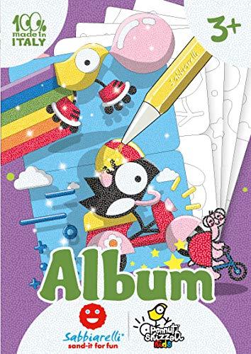 Sabbiarelli Sand-it for Fun - Album Happy Friends PENNUTI SKIZZATI: 7 Disegni Adesivi a Tema Animali da Colorare con la Sabbia (Non Inclusa), Adatto per Bambini Anni 3+