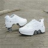 Wedsf Multifonction 2 en 1 Automatiques Rétractables Patins À roulettes Garçons Filles Chaussures D'entraînement De Sport Plein Air Sneakers Unisex Enfants Mode Roller Skates,38