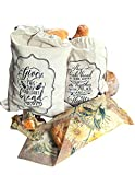 Beautiful Gift Of Bread Bags For Homemade Bread with Beeswax Wraps - 100% Organic Linen   Eco-Friendly   Bread Bags For Homemade Bread And Produce