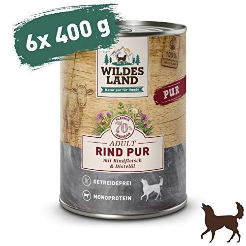 Wildes Land | Nassfutter für Hunde | Rind PUR | 6 x 400 g | mit Distelöl | Getreidefrei & Hypoallergen | Extra hoher Fleischanteil von 70{6607e1d51bf05bc524680ed9bcaa42ab8746be019deecd35ddfadc20416f4f8f} | Beste Akzeptanz und Verträglichkeit
