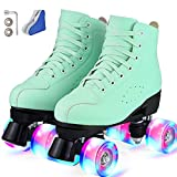 Roller Skate Shoes for Women&Men Classic PU Leather High-top Double-Row Roller Skates for Beginner, Professional Indoor Outdoor Four-Wheel Shiny Roller Skates for Girls Unisex (38)
