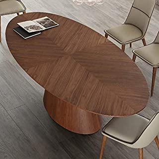 NOUVOMEUBLE Table Ovale 10 Personnes en Bois foncé Dione