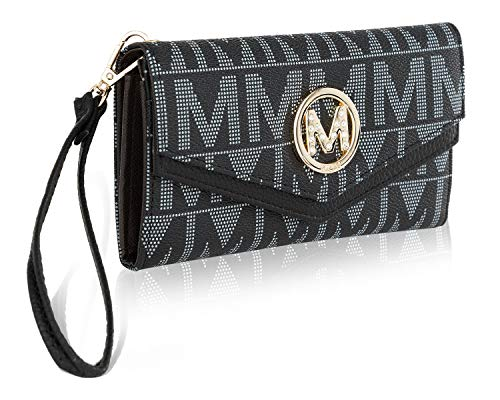 Mia K. Collection Envelope Handbag for Women Wallet - PU Leather Wristlet Bag - Double Zipper Multi Pockets Clutch Purse Black