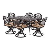 Laurel Canyon Outdoor Dining Set, 7 Piece Cast Aluminum Furniture, 6...