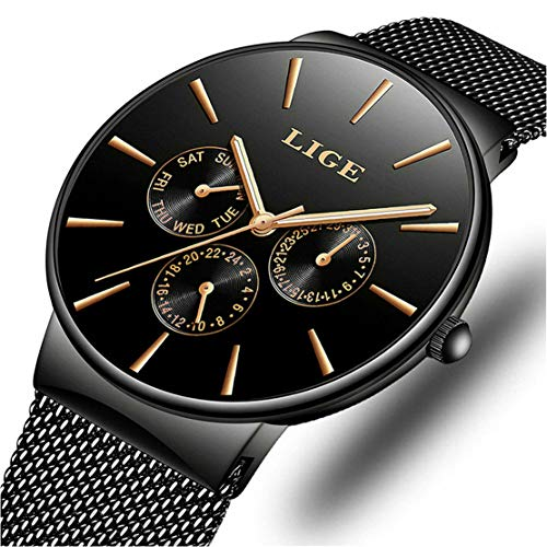 LIGE Relojes Hombres Impermeable Deportes Cuarzo Analógico Reloj Hombre Moda Negro Acero Inoxidable Malla