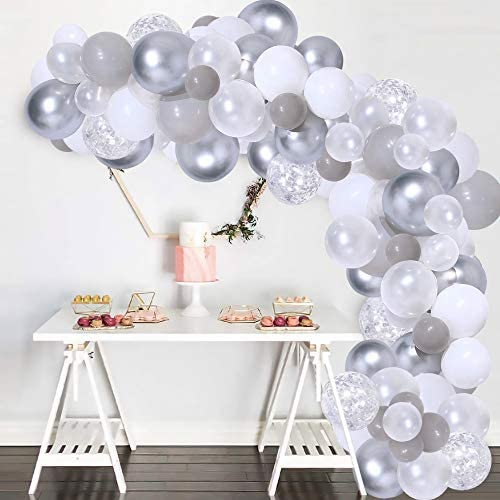 133 Pcs White and Silver Balloon Garland Kit Silver Confetti White Gray Birthday Party Decorations product image