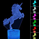 FULLOSUN Unicorn Night Light for Kids,3D Illusion Lamp wtih Remote Control 16 Colors Changing Dim Function, Cool Lamp for Room/Home Decor Birthday Xmas Gift for Boys & Girls …