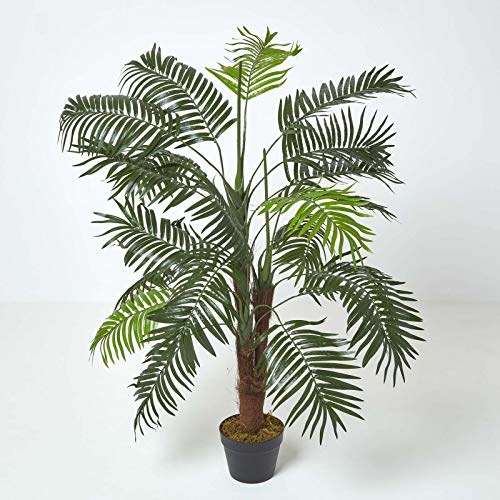 Homescapes Artificial Mini Palm Tree Tropical Office Conservatory Indoor Plant Green 120cm/ 4 ft with Black Pot