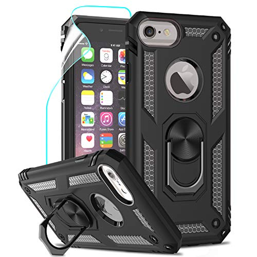 LeYi per Cover iPhone SE 2020, Custodia iPhone 6 / 6S /, iPhone 7/8 con Pellicola, 360°Regolabile Anello Magnetica Supporto Ring Armor Bumper TPU Case Silicone Custodie per Apple iPhone SE 2020 Nero