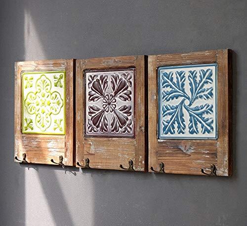 American Pueblo wandhaken van hout in retro-stijl, wandhaken, klassiek tot aan de decoratie van de wand, 38 x 35 cm, accessoires (kleur: 3 stuks) wzmdd 3 stuks.