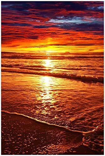 Wallario Glasbild Farbenfroher Sonnenuntergang über dem Meer II - 60 x 90 cm in Premium-Qualität: Brillante Farben, freischwebende Optik
