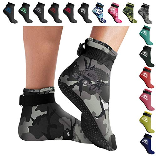 BPS 'Storm Sock' Neoprene Water Socks - for Men and Women/Unisex - Neoprene Socks for Snorkeling, Beach Volleyball, Surfing, Diving, Swim Fins - Low Cut (Grey Camo/Lilac Grey Accent, XL)