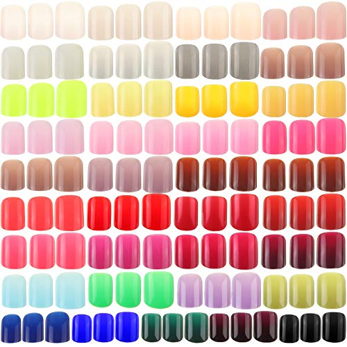 888 Pieces Colorful Short False Nails Square Artificial Fake Nail Full Cover Coffin Press on Nails Colorful 37 Sets Full Cover Artificial Acrylic Nails (Assorted Colors)