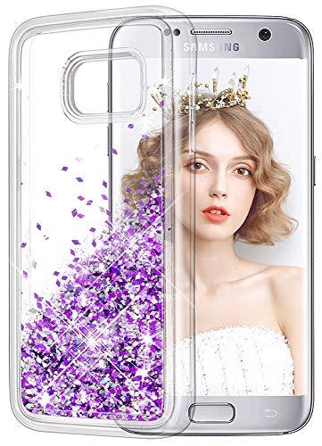 wlooo Glitter Cover Compatibile con Samsung Galaxy S7, Cover Samsung S7, Bling Liquido Custodia Sparkly Luccichio Pendenza TPU Silicone Protettivo Morbido Brillantini Quicksand Case (Viola)