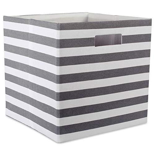 DII Hard Sided Collapsible Fabric Storage Container for Nursery, Offices, & Home Organization, (11x11x11) - Stripe Gray