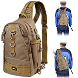 PLUSINNO Fishing Tackle Backpack Storage Bag,Outdoor Shoulder Backpack,Fishing Gear Bag,Water-Resistant Fishing Backpack with Rod Holder (Standard(14.68.75.5 Inch)-khaki)