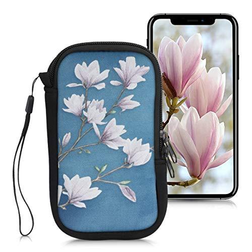 kwmobile Custodia in neoprene con zip per smartphone L - 6,5  - Astuccio portacellulare a sacchetto con cerniera - Borsa verticale - Magnolie marrone grigio bianco grigio blu
