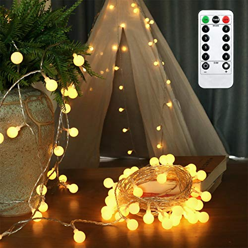 AMARS Christmas LED Globe String Lights Battery Operated with Remote Timer...