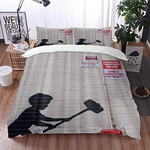 Mingdao bedding - Duvet Cover Set, Banksy Graffiti Art Hammer Boy Style Printing,Microfibre Duvet Cover Set 200 x 200 cmwith 2 Pillowcase 50 X 80cm