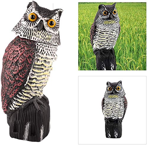 CLEYCYE Owl Decoy Statue with Rotating Head,Large Realistic Fake Owl for Garden/Home/Outdoor, Bird/Pigeon/Seagull/Crow Scarers Bird Deterrent for Garden Protection Ornament Decoration