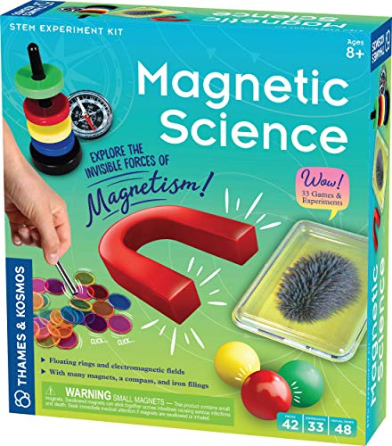 Thames & Kosmos Magnetic Science   33 STEM Experiments   Ages 8+   Learn About Earth's Magnetic Poles   Discover How Invisible Magnetic Fields Work   Full-Color 48-Page Manual