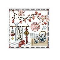クロスステッチキットDIY刺繍セット 43x44cmのウェディングギフト 図柄印刷 初心者 ホームの装飾 風景 刺繍糸 針 ホームの装飾