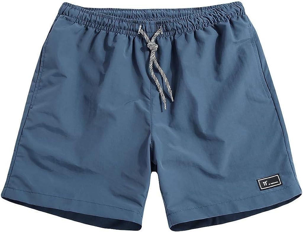 WUAI-Men Swim Trunks Quick Dry Loose Fit Casual Summer Beach Board Shorts Plus Size