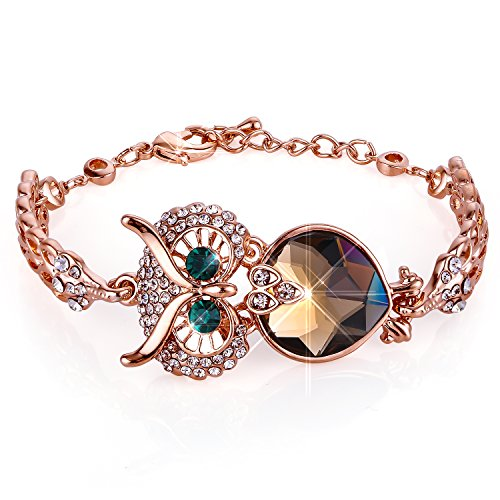 Lucky Owl Bracelet With Turquoise Golden Rhinestone