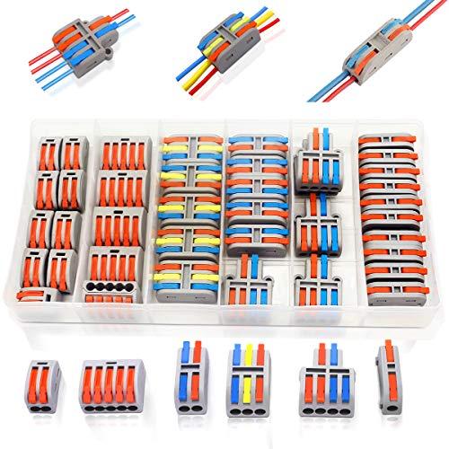 40 Stück Klemmen Verbindungsklemme Set Mit Hebel, Kabelklemmen Elektro Kabelverbinder Kabelschuhe, Abzweigverbinder Quetschverbinder -6 Verschiedene Typen Steckklemmen 2 Polig 3 Polig 4 Polig 5 polig