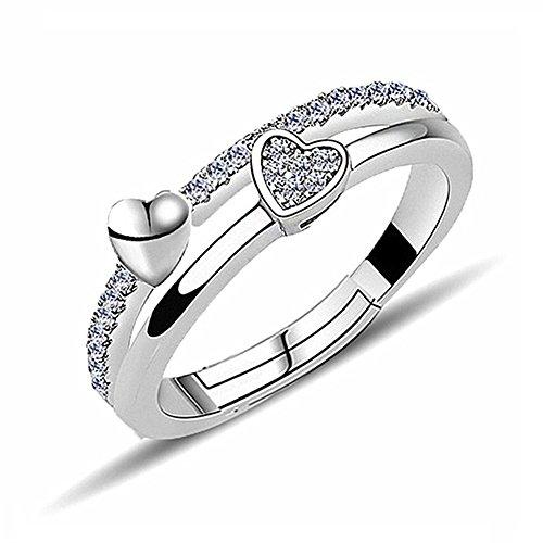 AIUIN Elegante anillo de diamante con forma de corazón ajustable de cristal, anillo abierto para mujer, 1 unidad, con una bolsa de joyería