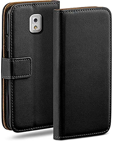 moex Klapphülle für Samsung Galaxy Note 3 Hülle klappbar, Handyhülle mit Kartenfach, 360 Grad Schutzhülle zum klappen, Flip Hülle Book Cover, Vegan Leder Handytasche, Schwarz